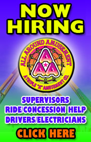 All Around Amusements is now hiring ride, game, food, help for the 2019 season.  Call 815-725-2323 for more info or visit www.allaroundamusementsinc.com