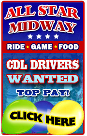 All Star Midway is now hiring help in all departments for the 2019 season- ESPECIALLY CDL and Ball Hitch Drivers (TOP PAY), Electricians, Mechanics, Food and Game Help, General Ride Help, and  more!  Call Joe at 516-241-9700