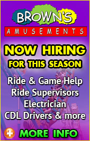 Browns Amusements is now hiring ride help, game help, food help, electrician, and CDL drivers for the 2019 season.  Call Danny at (602) 763-1617 for more info or visit brownsamusements.com.