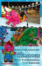 KOLMAX Plus is a amusement ride manufacturer based in the Chaz Republic that produces quality amusement attractions such as the Dumbo the Flying Elephant and many more.