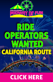 Midway of Fun is now hiring ride operators for its California route!  Good pay, good hours, and good times !  Call 530-917-9242 or email midwayoffun@yahoo.com