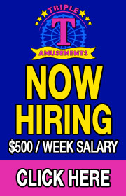 Triple T Amusements is now hiring RIDE, GAME, and FOOD HELP for its 2021 season!  $500 a WEEK SALARY!  Special BONUS for CDL drivers!  Call 817-516-5676