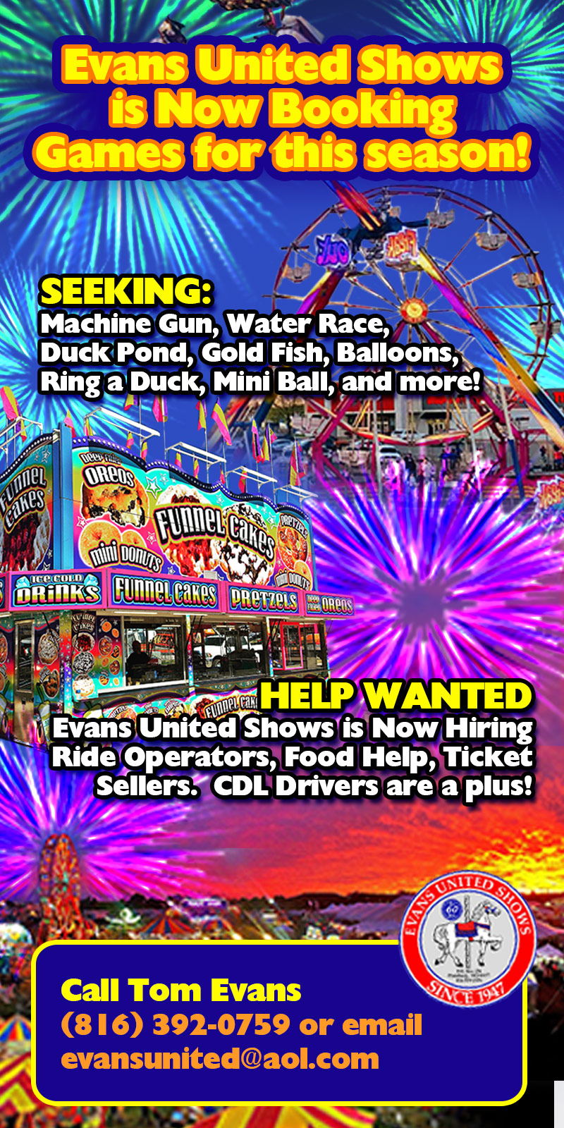 Evans United Shows is now booking games