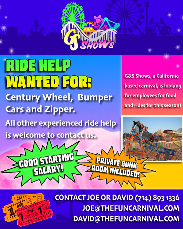 G and S Shows is now hiring ride and food help for its California Route